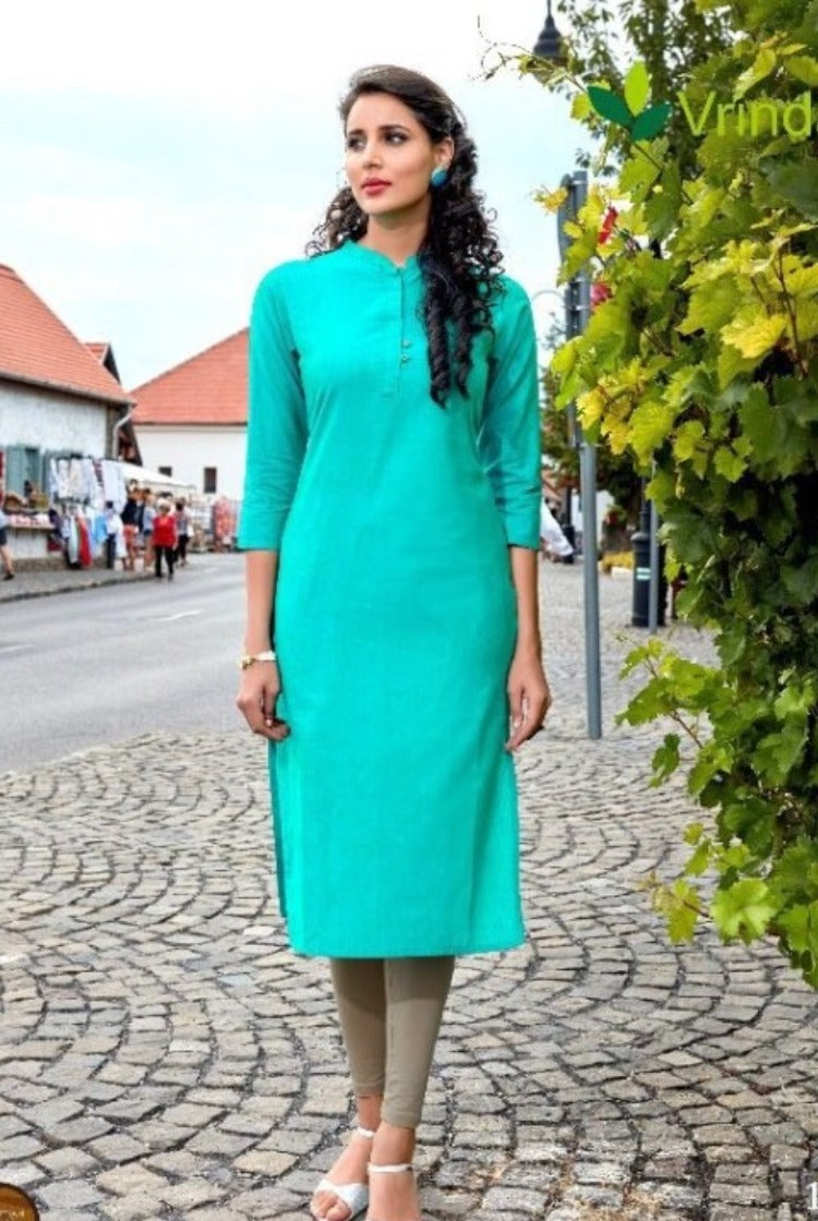 Cotton Collar Kurti - Cyan