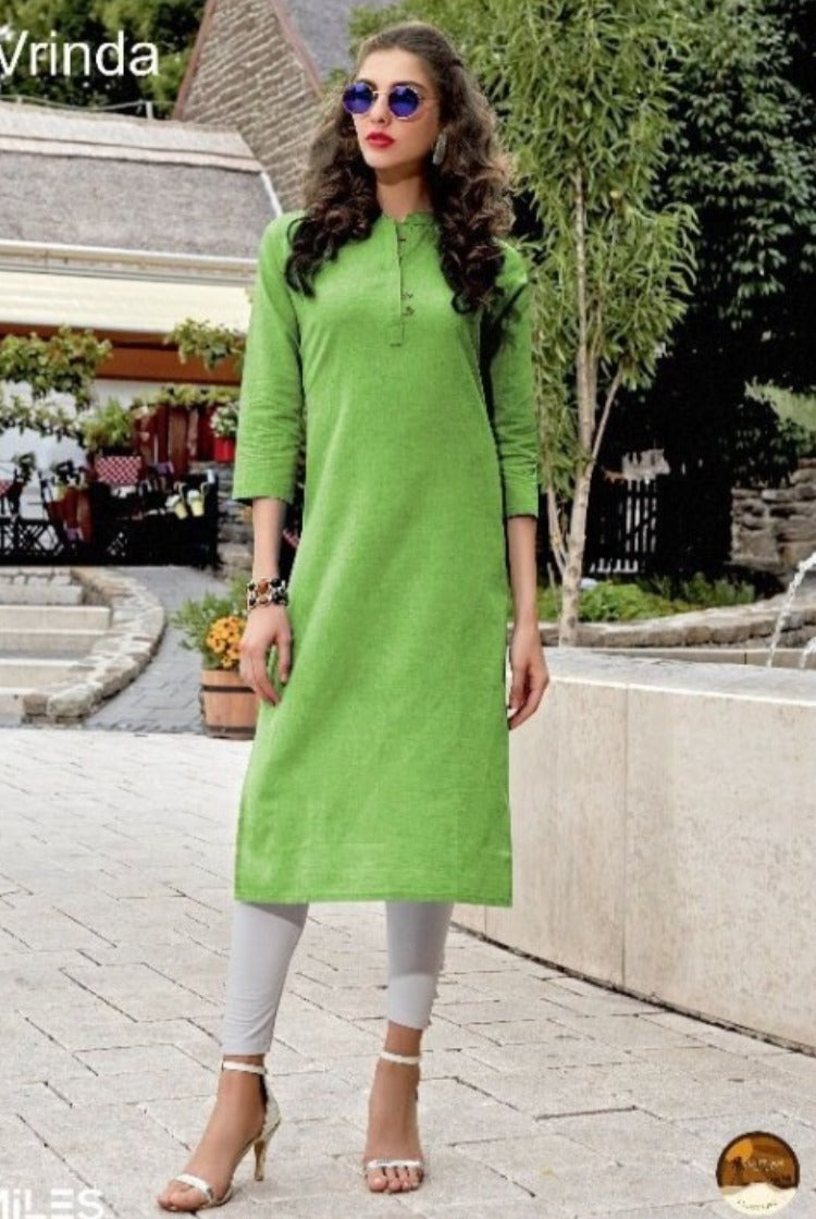 Cotton Collar Kurti - Green