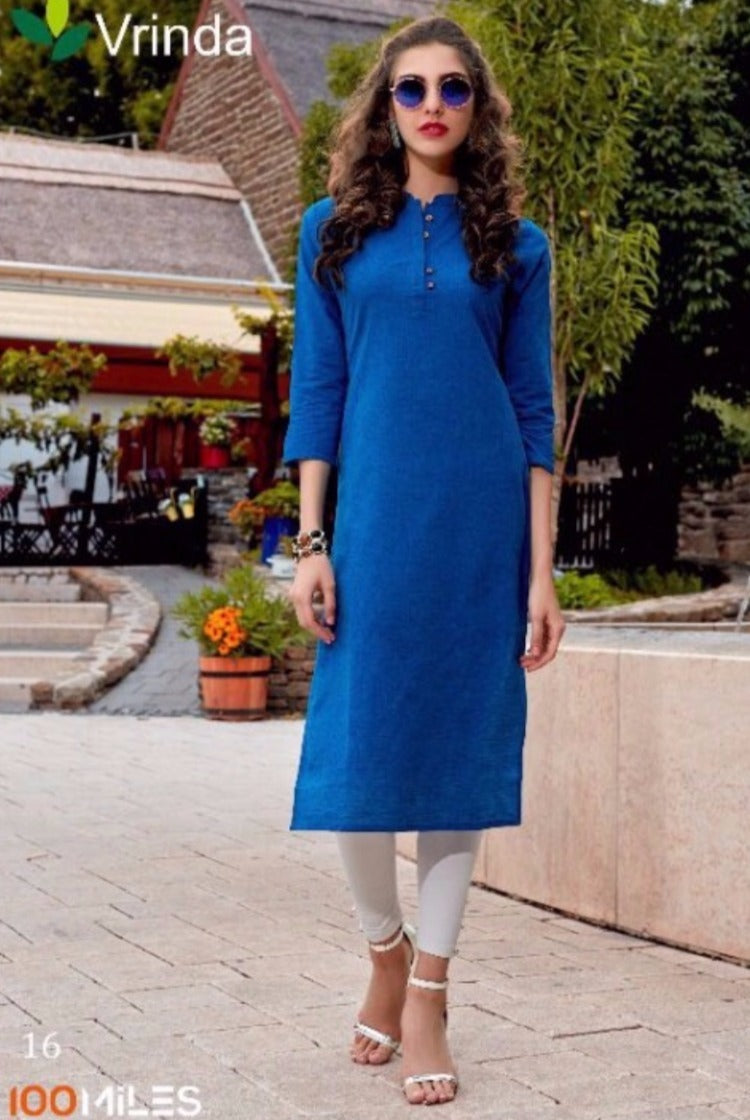 Cotton Kurti with Collar in Blue