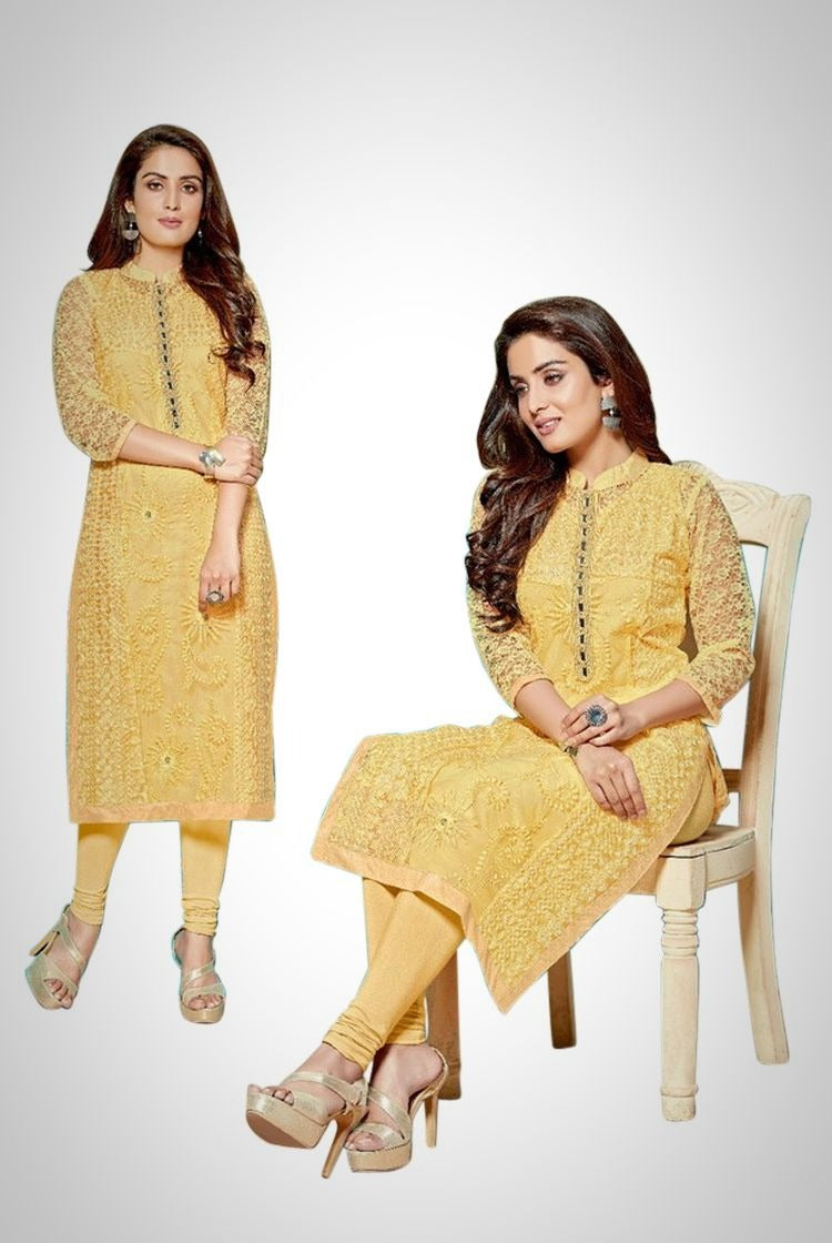 Light Mustard Yellow Chikankari Kurti with inner & legging set