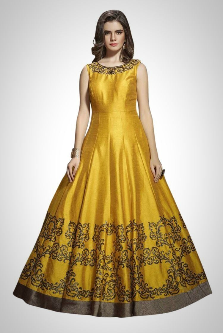 Heavy Anarkali Gown in Mustard Yellow