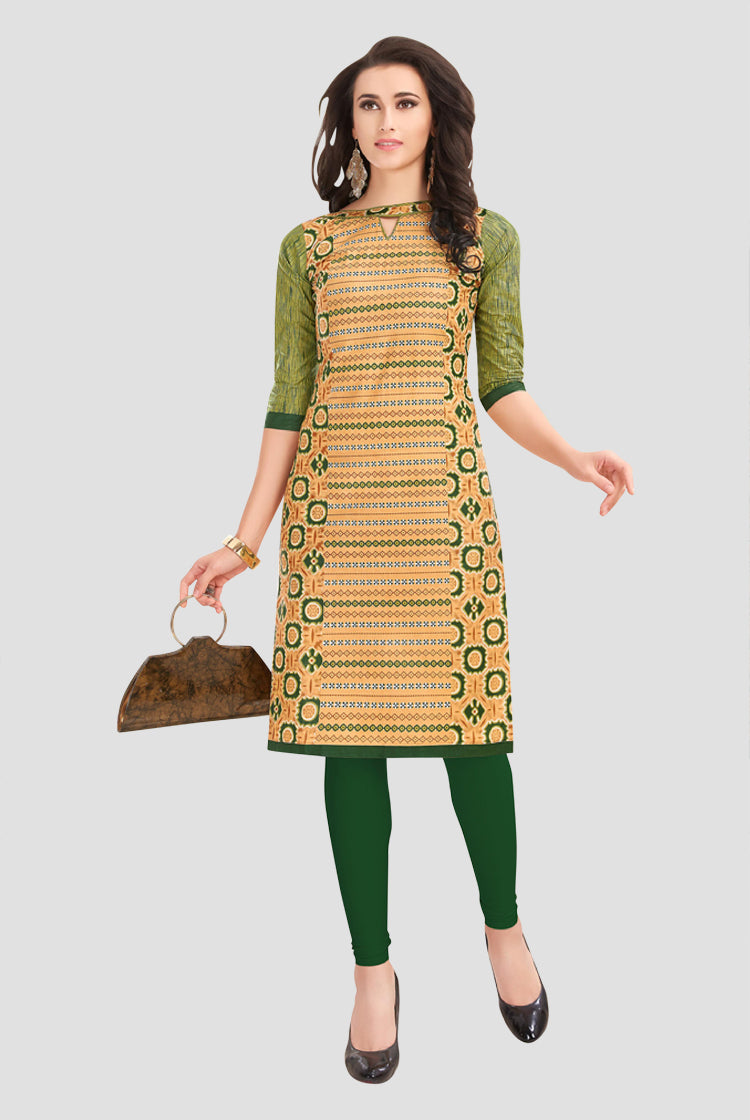 Ethniz- Cotton Print Kurti - Beige & Green