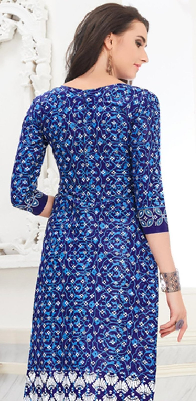 Ethniz- Cotton Print Kurti - Blue