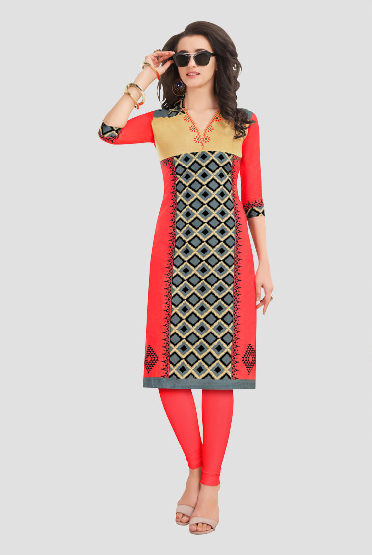 Ethniz- Cotton Print Kurti - Red & Grey