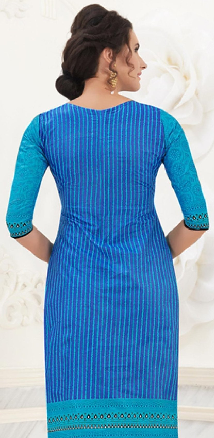 Ethniz- Cotton Print Kurti - Sky Blue