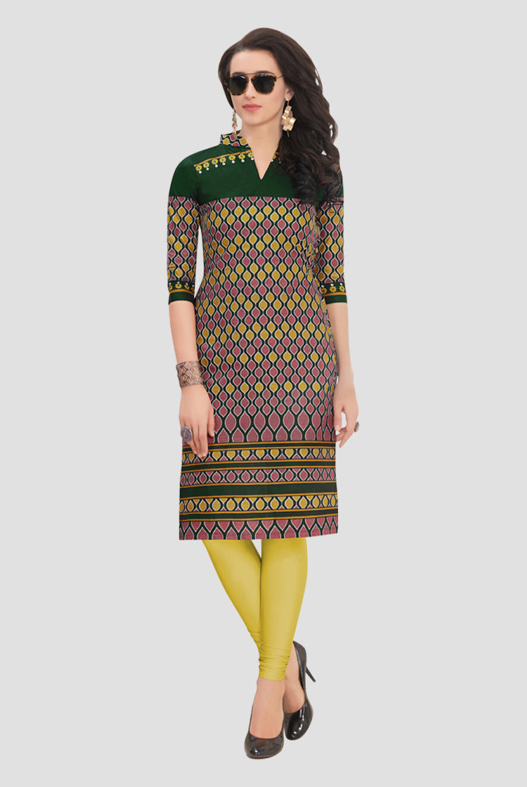 Ethniz- Cotton Print Kurti - Hunter Green