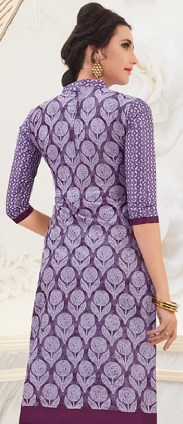 Ethniz- Cotton Print Kurti - Purple