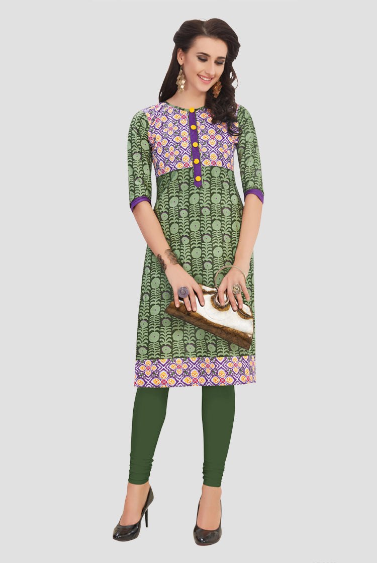 Ethniz- Cotton Print Kurti - Pickle Green