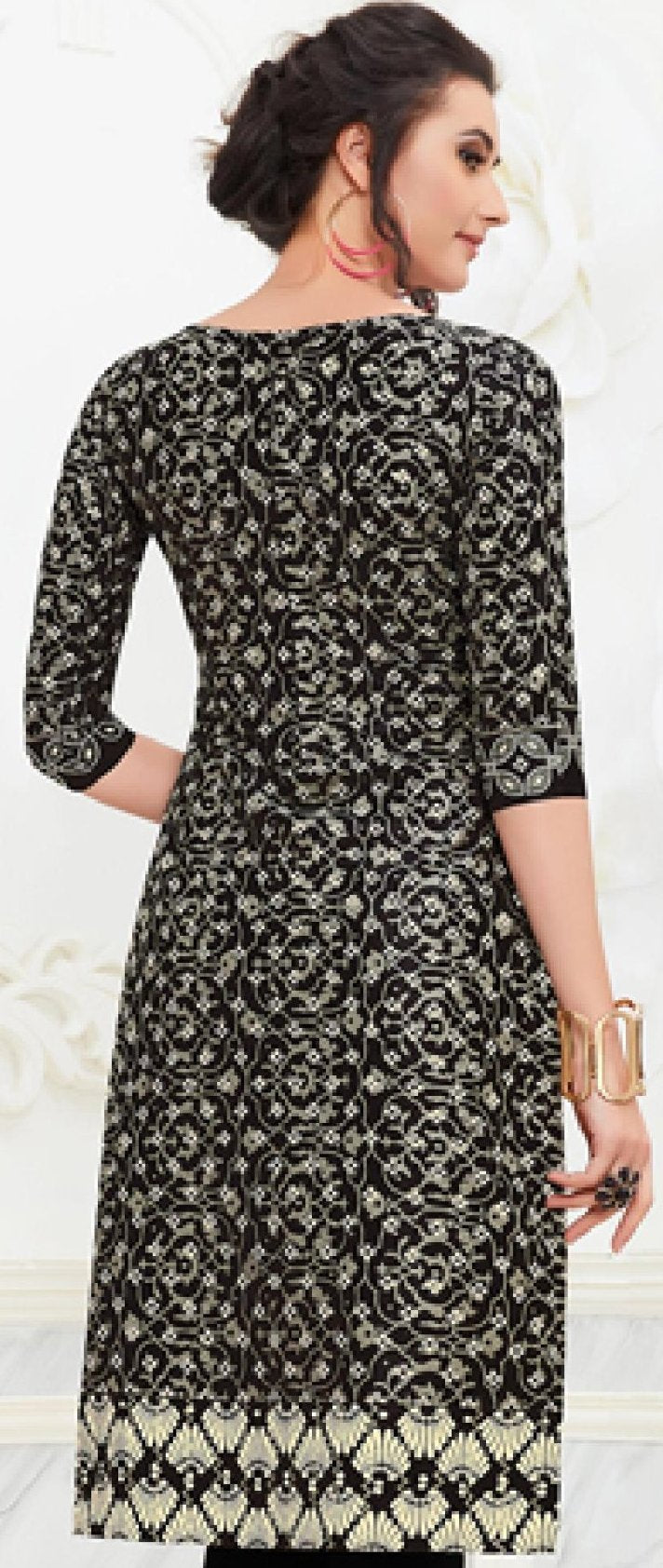 Ethniz- Cotton Print Kurti - Black