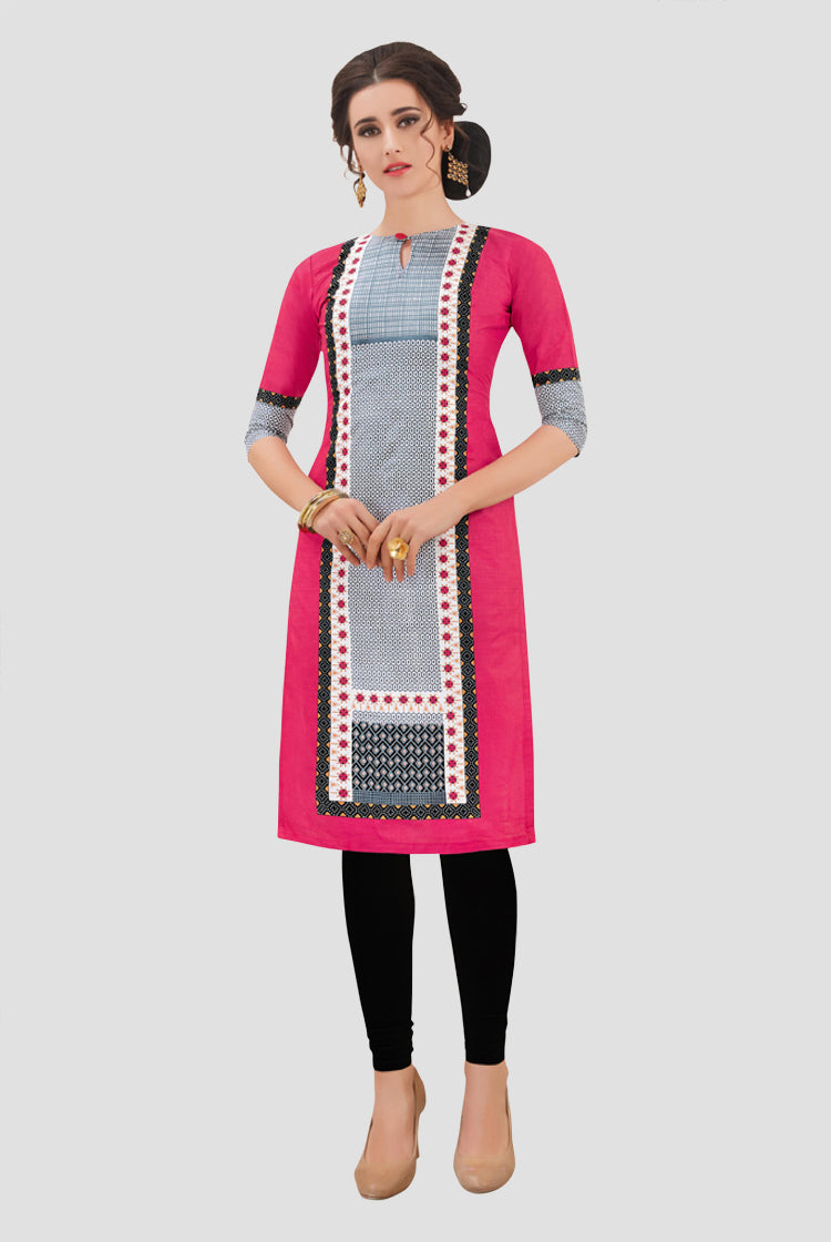 Ethniz- Cotton Print Kurti - Pink & Black