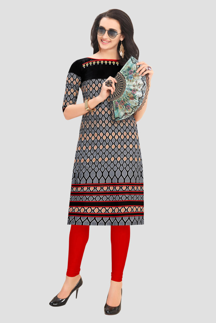 Ethniz- Cotton Print Kurti - Black and Red
