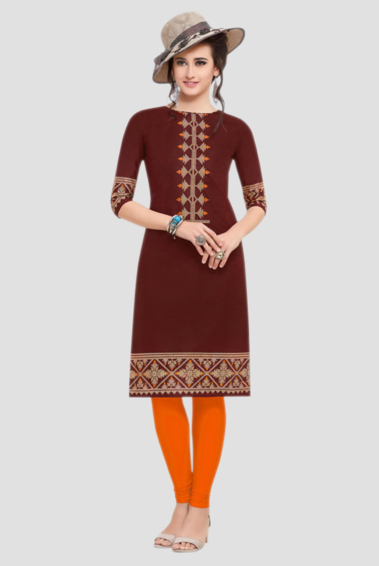 Ethniz- Cotton Print Kurti - Brown
