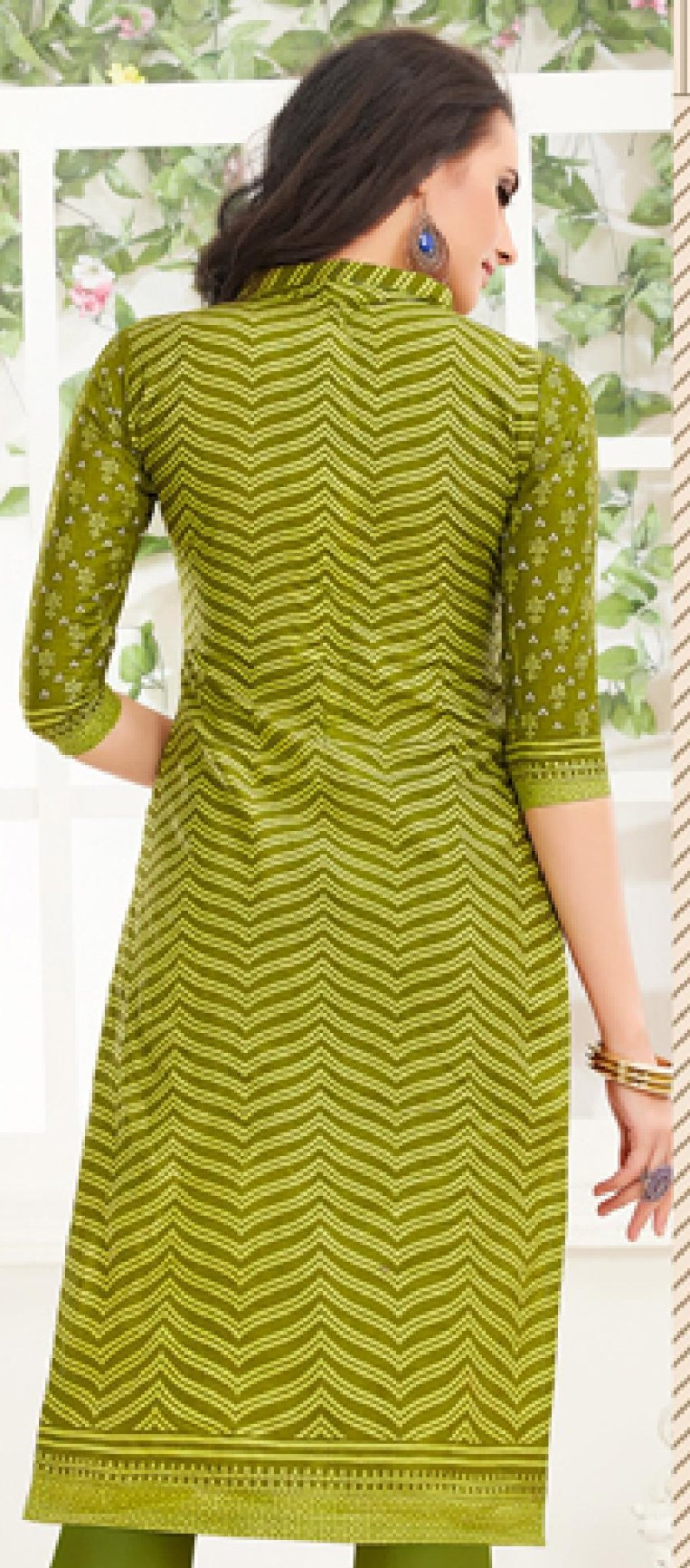 Cotton Print Kurti - Green