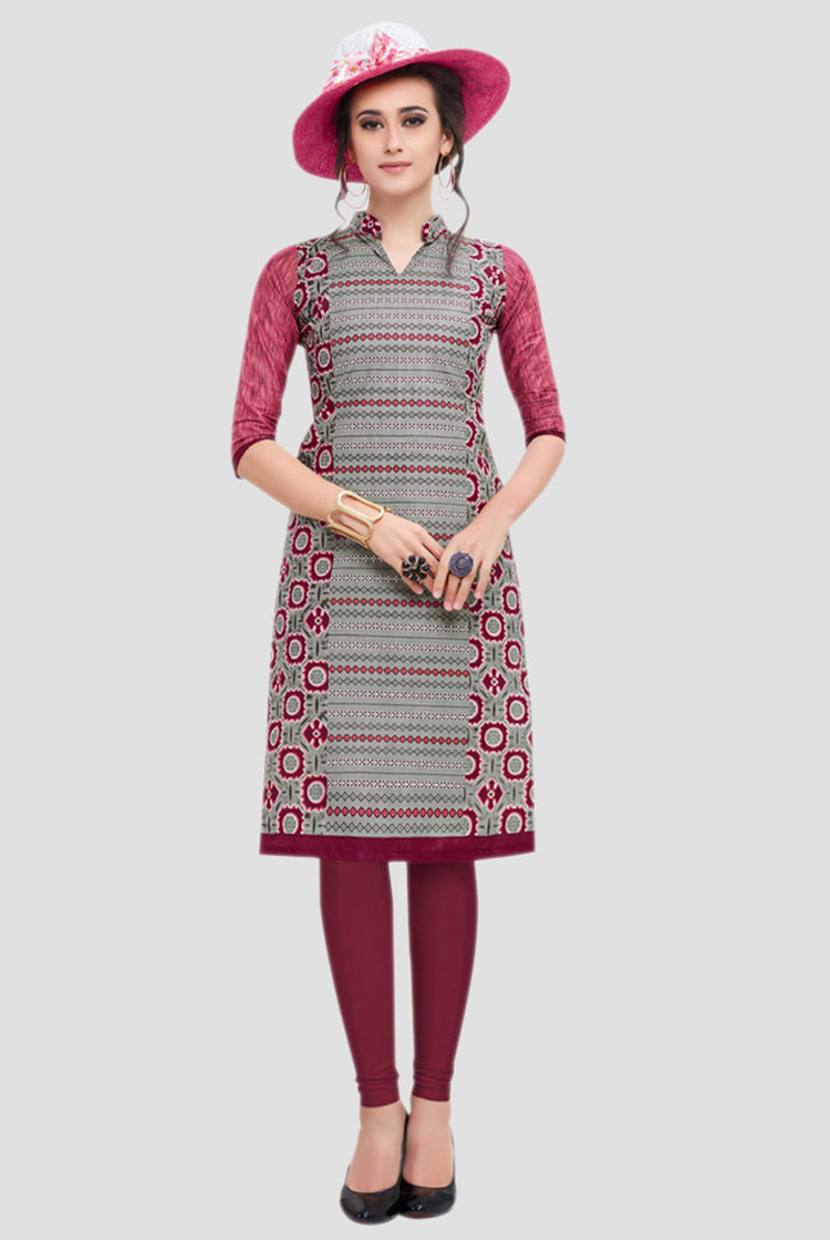 Ethniz- Cotton Print Kurti - Grey and Pink