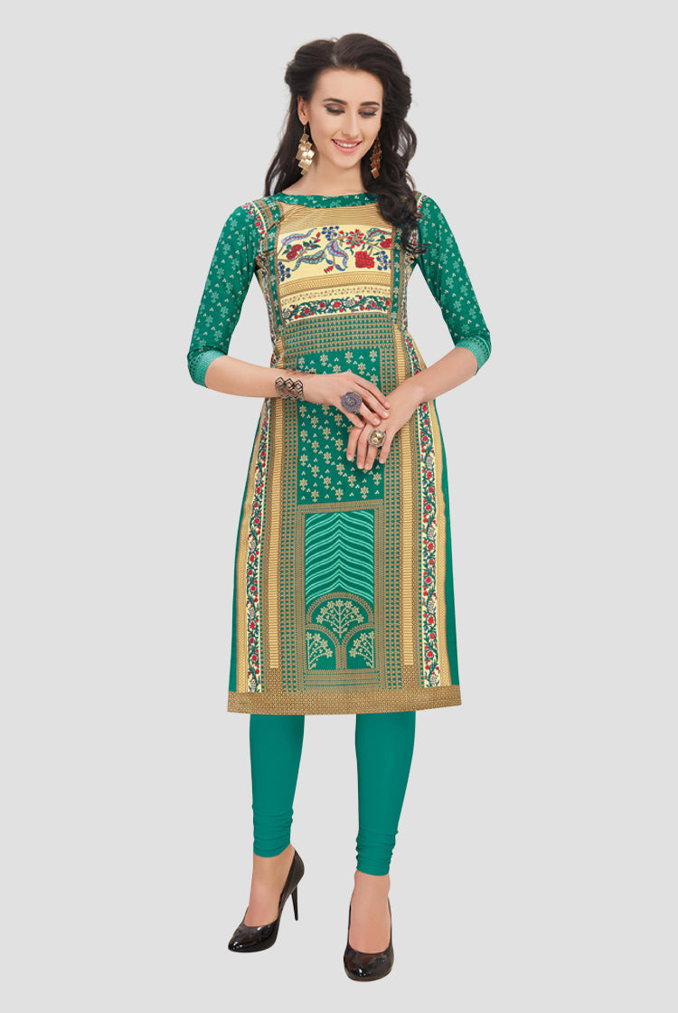 Ethniz- Cotton Print Kurti - Green and Beige