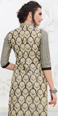 Ethniz- Cotton Print Kurti - Cream & Black
