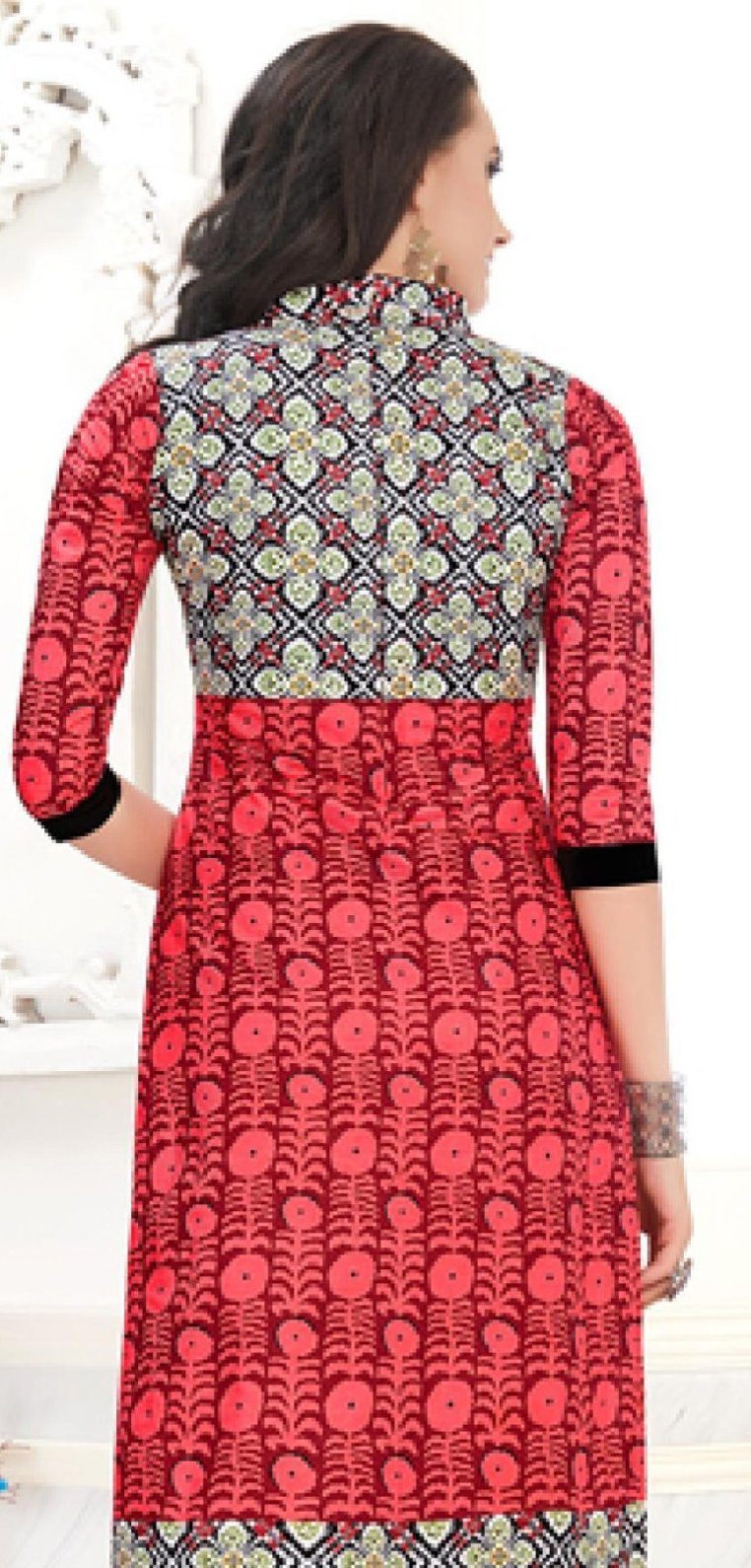 Ethniz- Cotton Print Kurti - Red