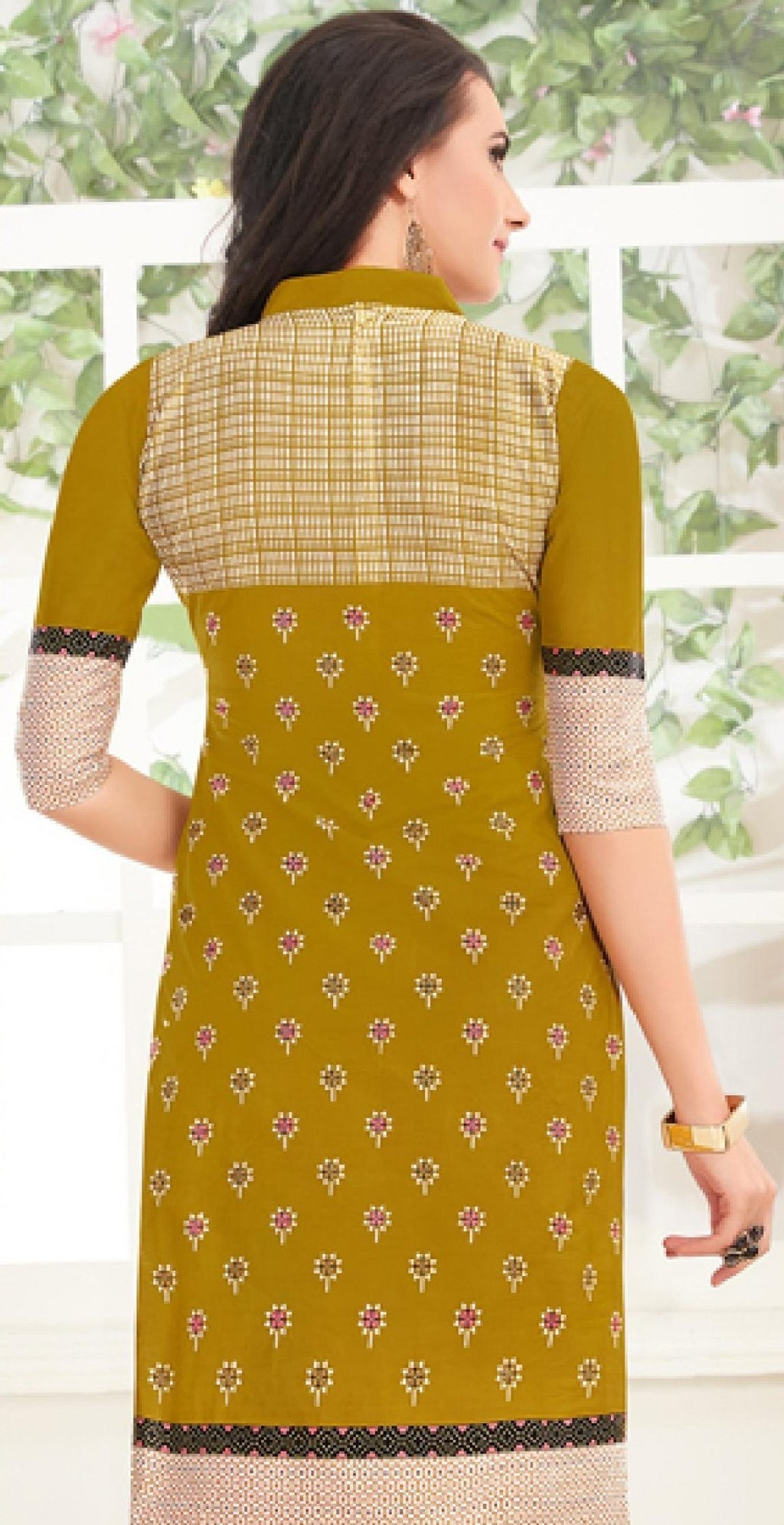 Ethniz- Cotton Print Kurti - Olive green