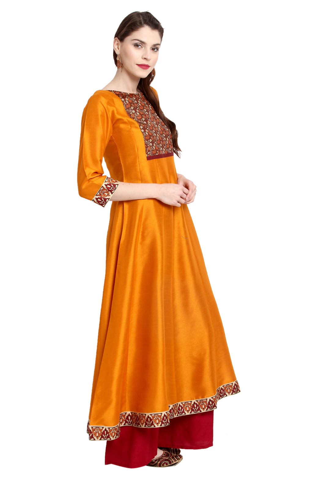 Orange Poly Silk Anarkali Kurti with Duppatta