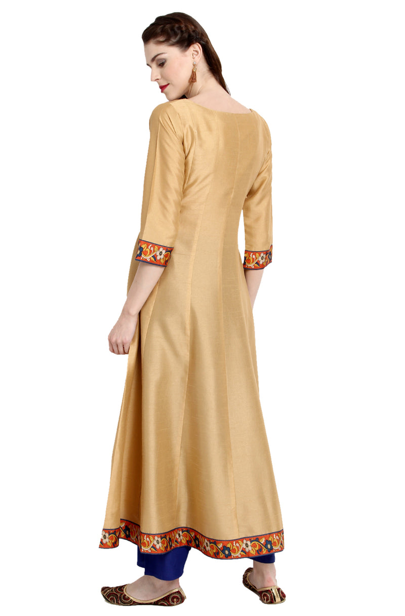 Beige-Orange Poly Silk Anarkali Kurti with Duppatta