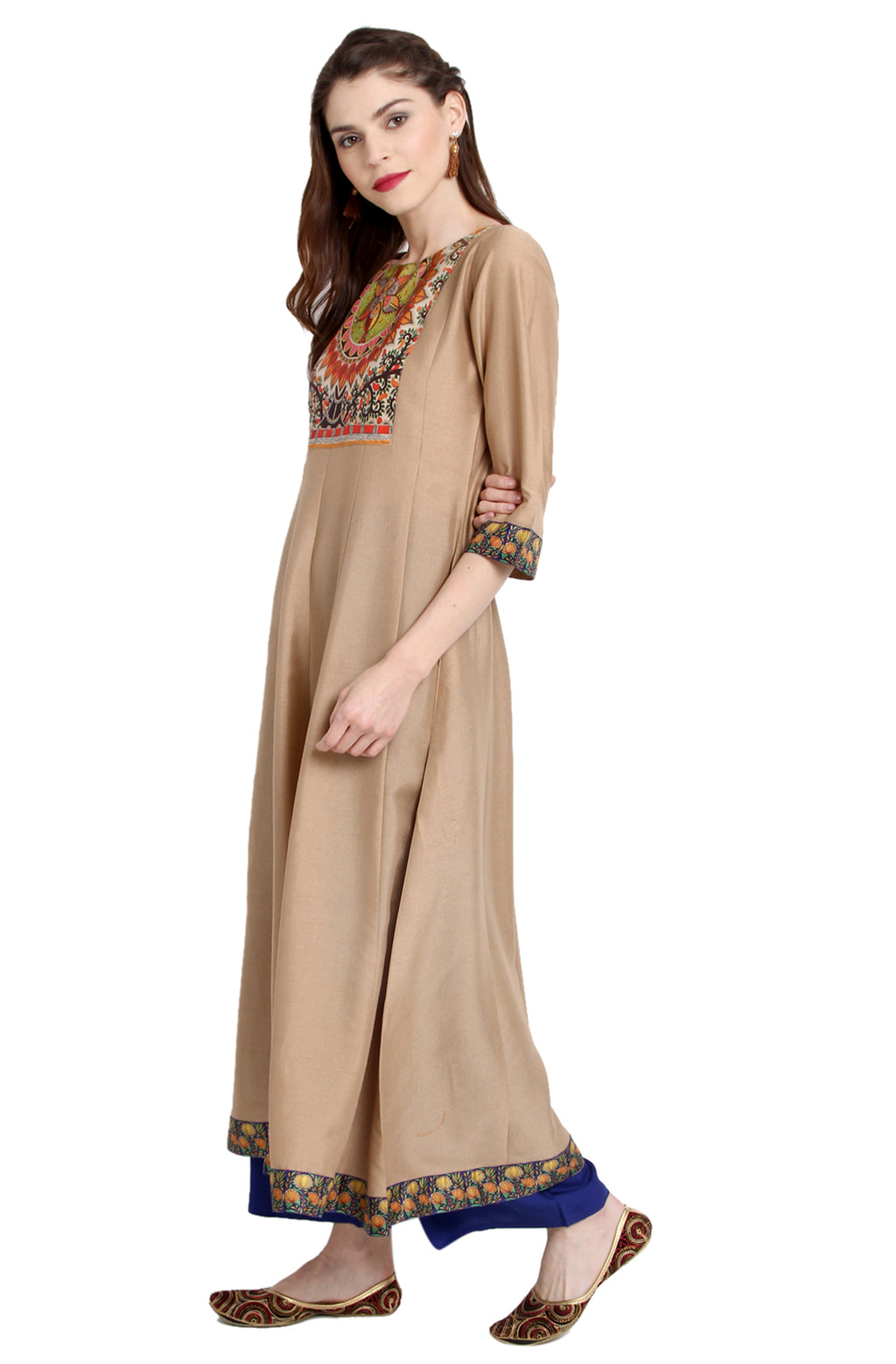 Beige Poly Silk Anarkali Kurti with Duppatta