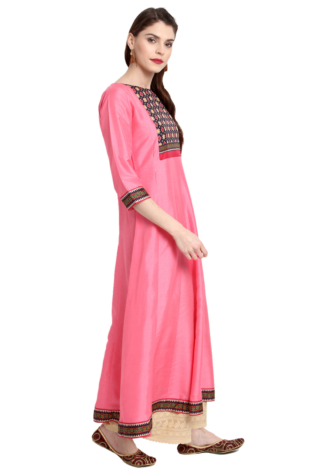 Pink Poly Silk Anarkali Kurti with Duppatta