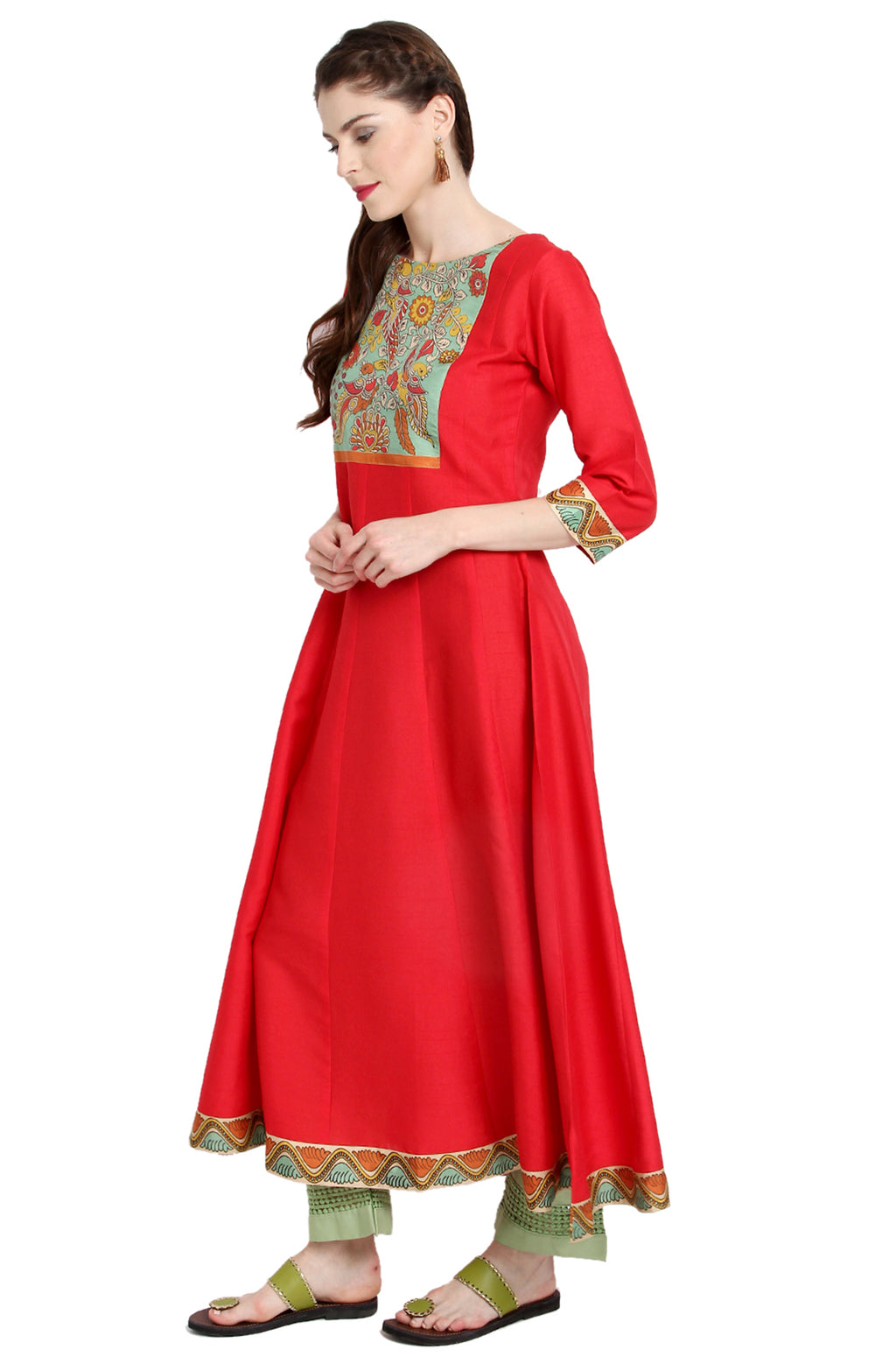 Red Poly Silk Anarkali Kurti with Duppatta