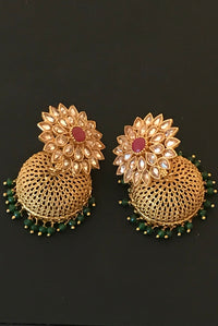 Self Stone Jhumkis in Red & Green