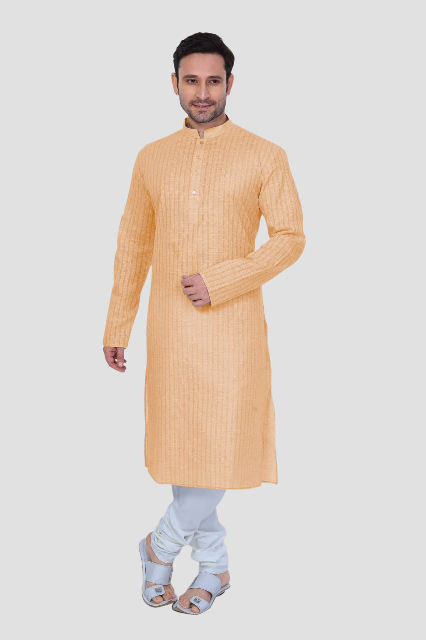 Ethniz - Men's Orange Kurta with Churidar