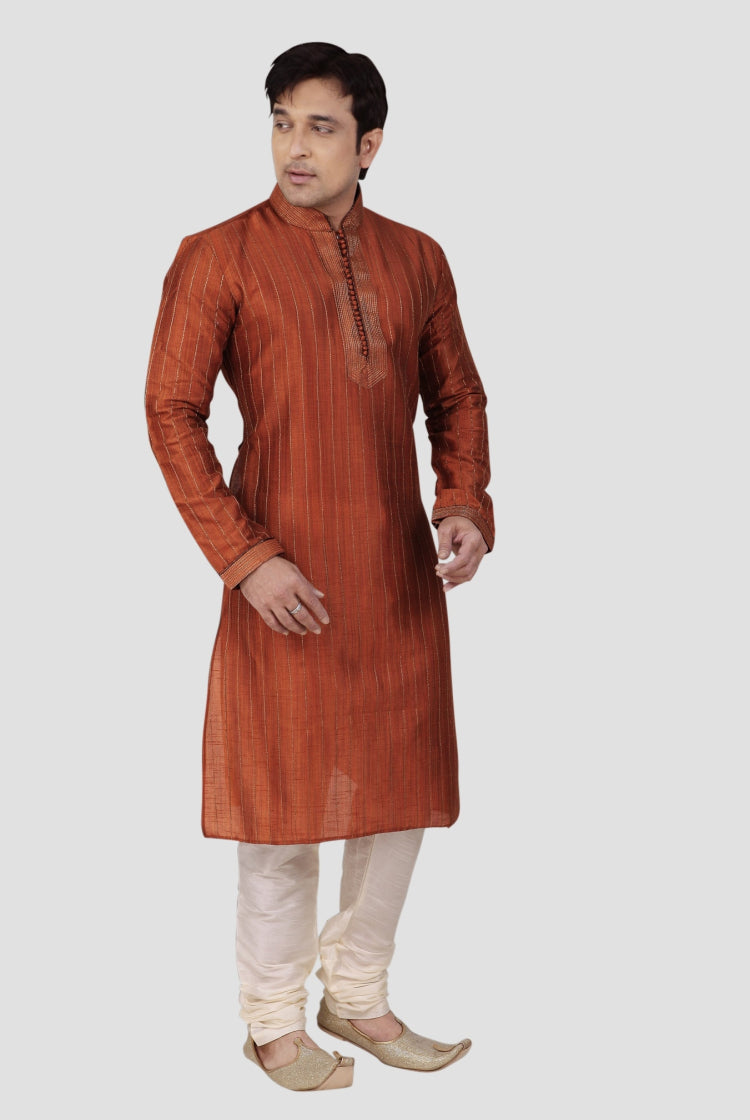 Ethniz - Men's Kurta with Churidar - Orange
