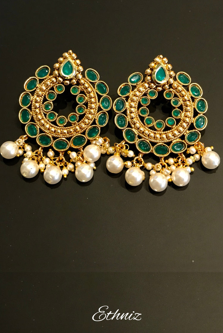 White Pearl on Green stone Earring