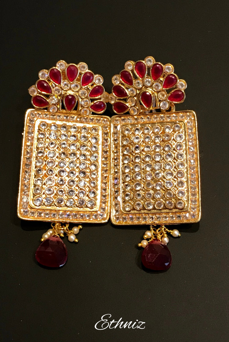 Red Stone Rectangular Earring