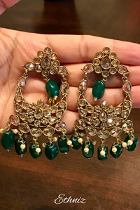 Green dangling earring with White stone