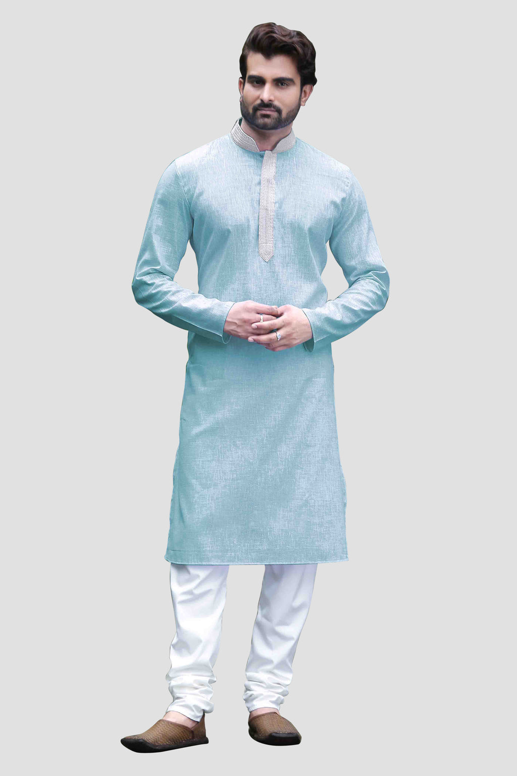 Ethniz - Men's SkyBlue Kurta with Churidar