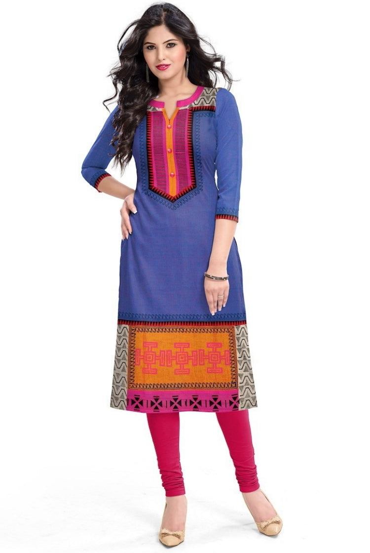 South Handloom Cotton Straight cut Kurti in Blue