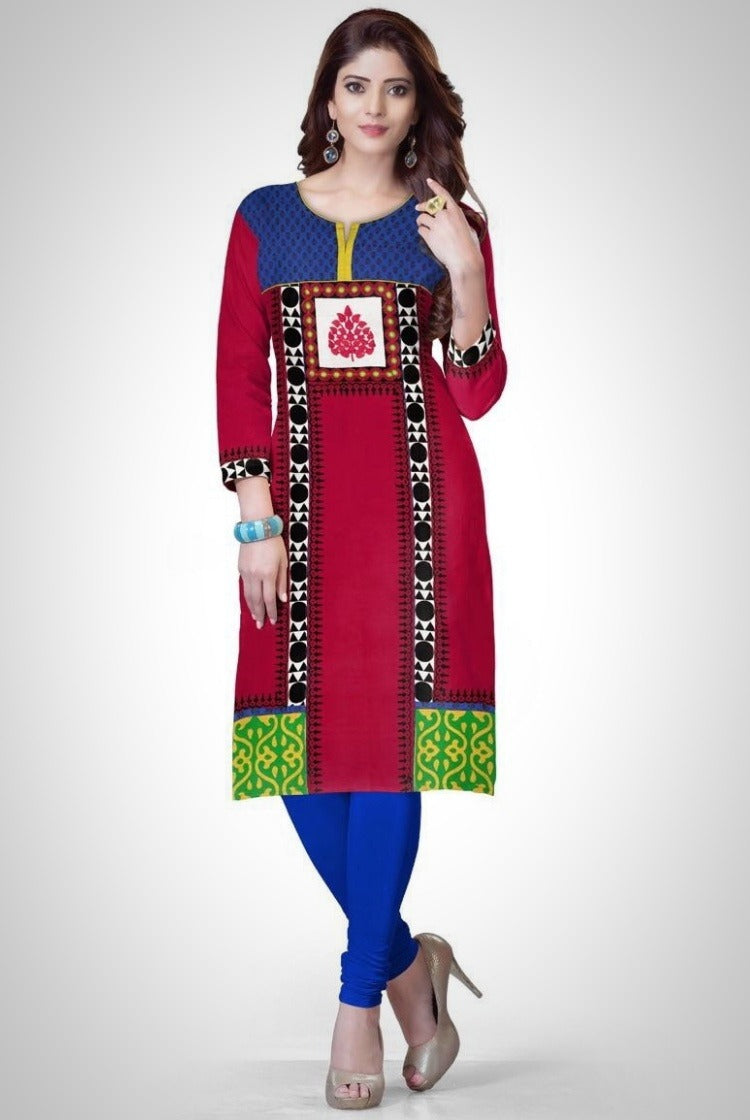 South Handloom Cotton Straight cut Kurti in Red & Blue