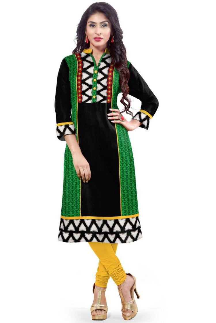 South Handloom Cotton Straight cut Kurti in Green & Black