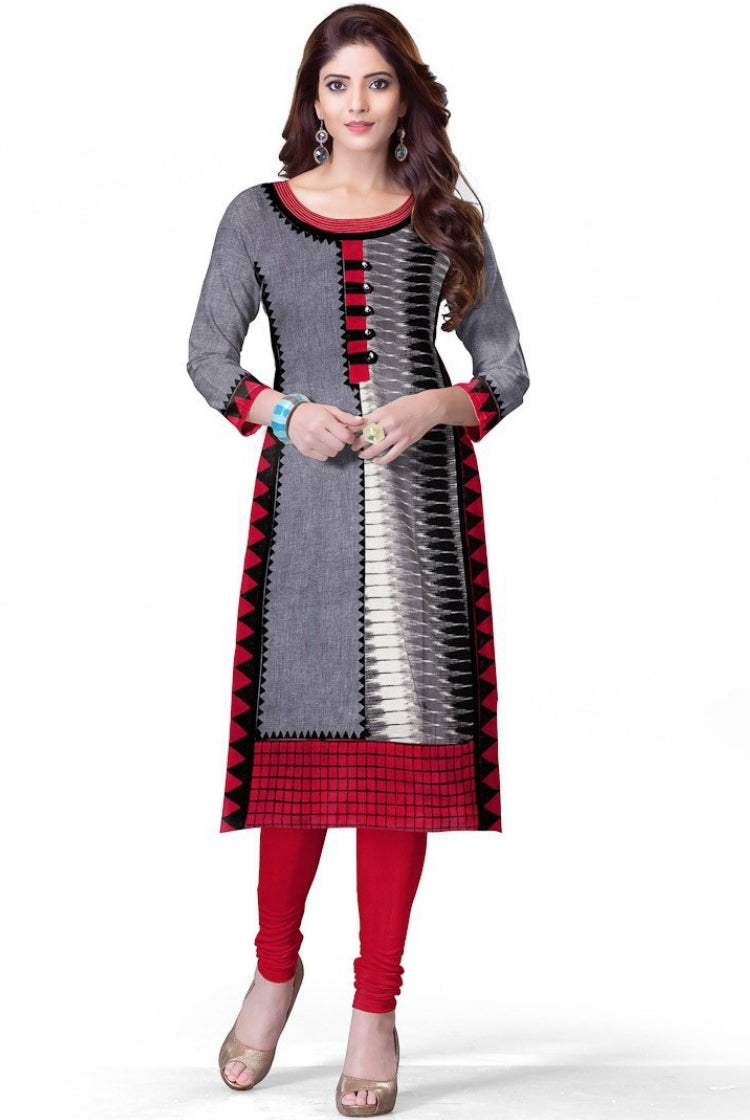 South Handloom Cotton Straight cut Kurti in Black