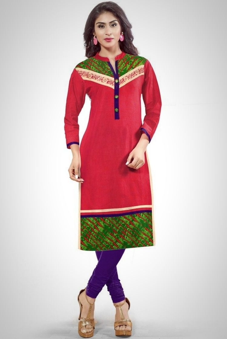 South Handloom Cotton Straight cut Kurti in Red
