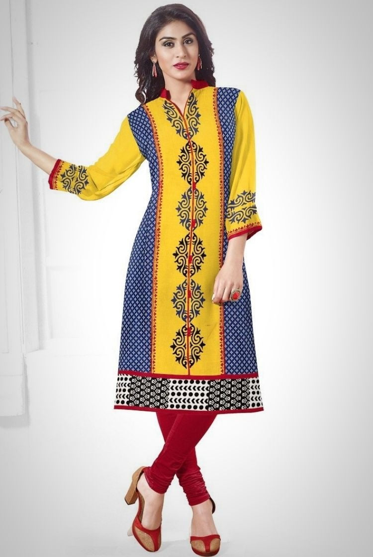 South Handloom Cotton Straight cut Kurti in Yellow