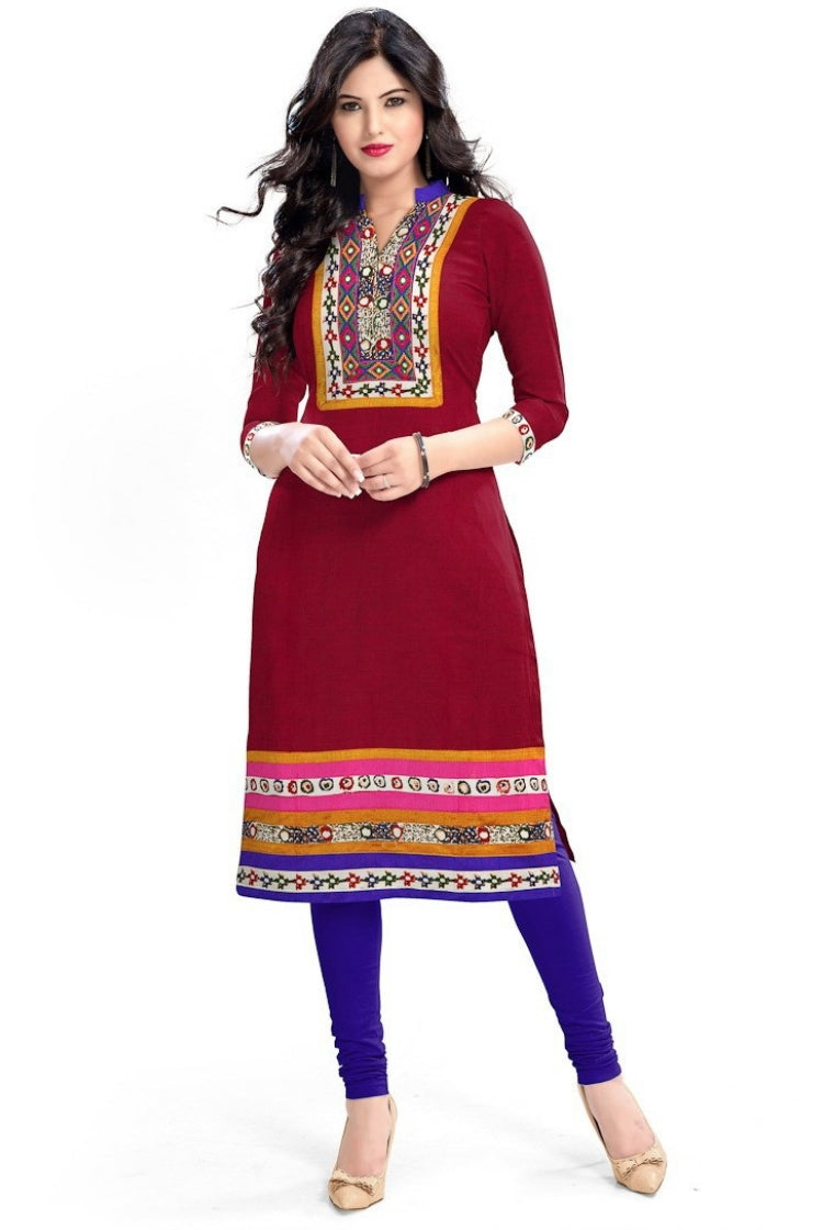 South Handloom Cotton Straight cut Kurti in Maroon