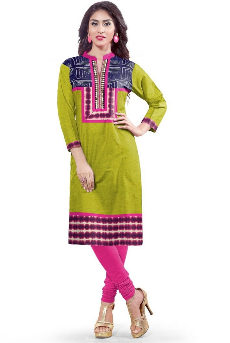 South Handloom Cotton Straight cut Kurti in Green