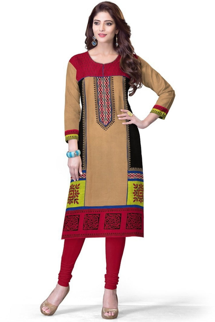 South Handloom Cotton Straight cut Kurti in Beige & Red