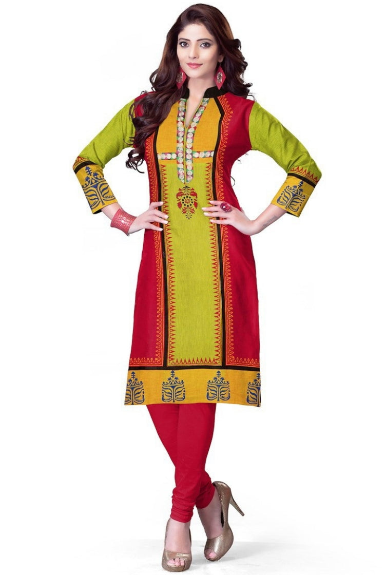 South Handloom Cotton Straight cut Kurti in Red & Green