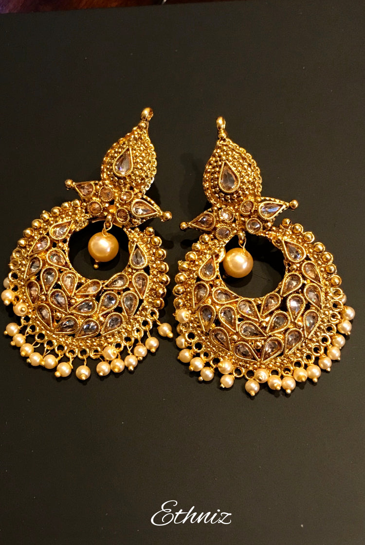 Diya Style Mehendi Color Polish Earring with Pearl