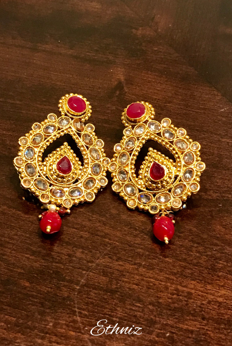 Red & White Stone earring 003