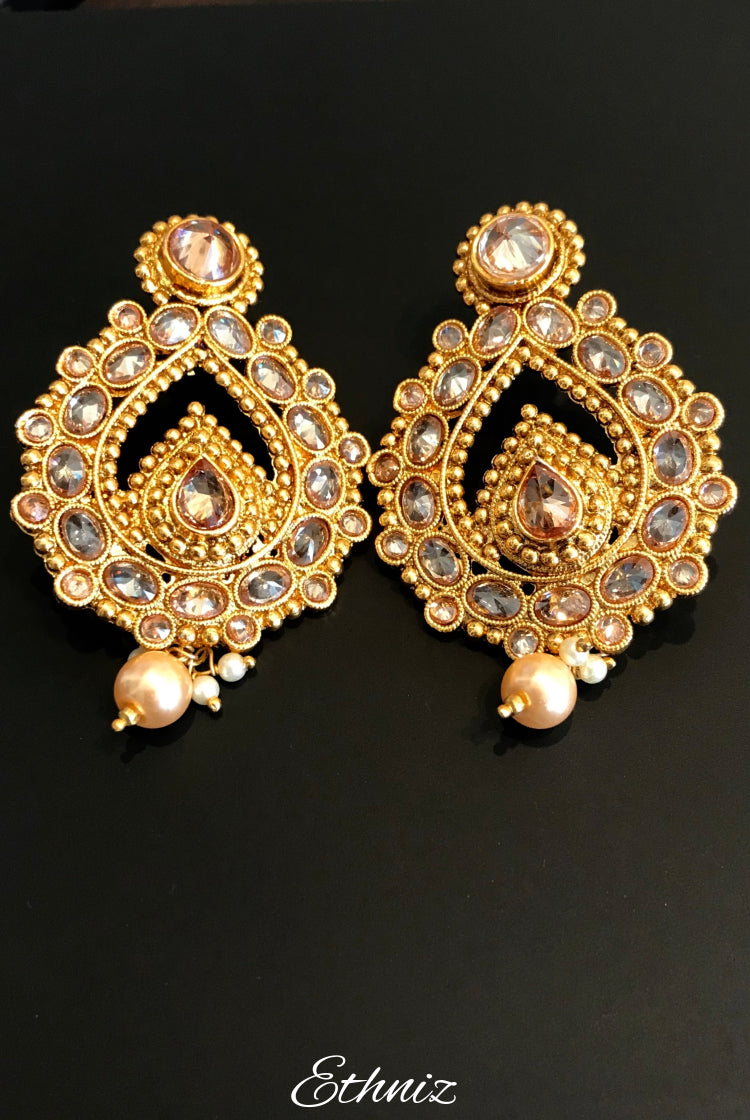Rose Gold stone Earring with white stone and pearl 003
