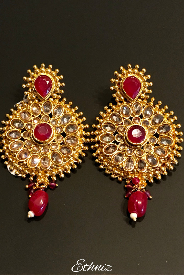 Rose Gold stone Earring with dangling red stone 001