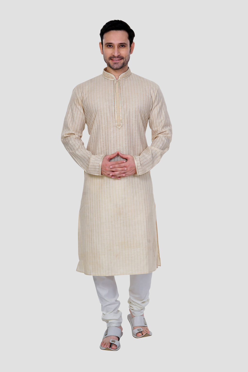 Ethniz-Men's Beige Kurta with Churidar