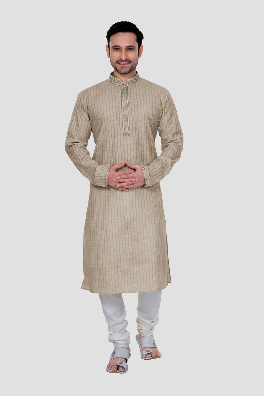 Ethniz- Men's French Macaroon color Kurta with Churidar